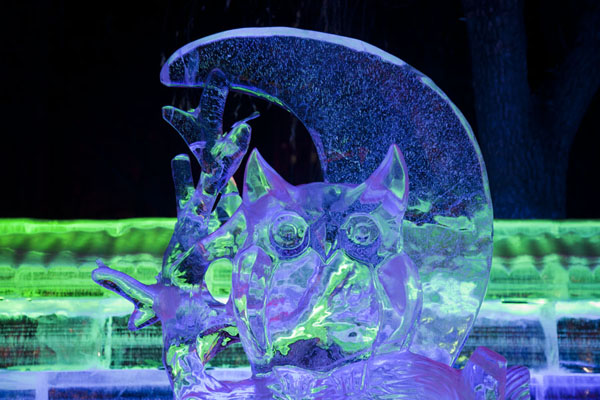 Picture of Ice Lantern Art Show (China): Moon with owl sculpted from ice
