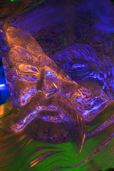 Close-up of a face sculpted of ice | Ice Lantern Art Show | China