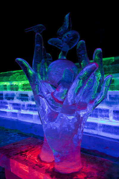 Picture of Ice Lantern Art Show (China): Ice sculpture of hands in the exhibition