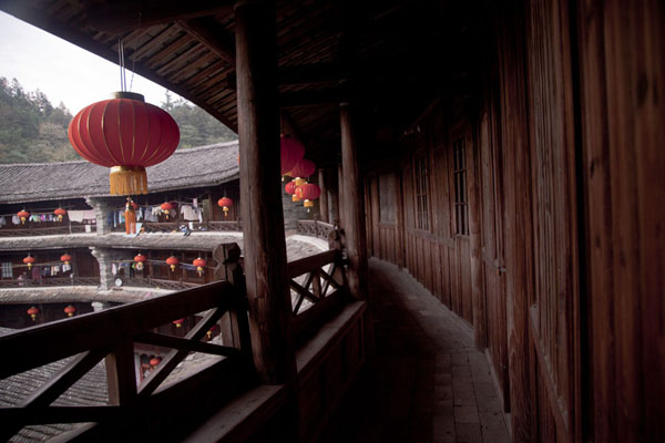 Picture of Hongkeng Tulou Cluster (China): View of the top floor of Zhencheng Lou tulou with red lanterns