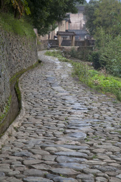 Picture of Hongkeng Tulou Cluster (China): Stone pathway running alongside the river opposite Fuyu Lou