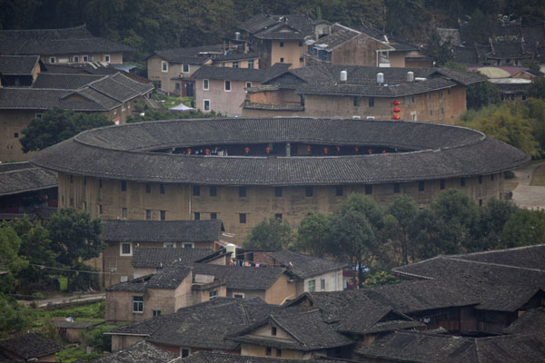 View of the central part of the Hongkeng tulou cluster with Zhencheng Lou | Hongkeng Tulou Cluster | China