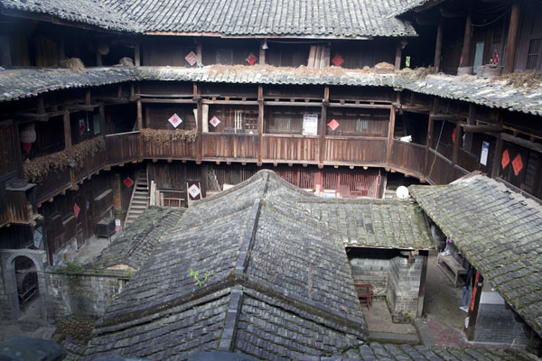 Picture of Hongkeng Tulou Cluster (China): View of a tulou from the inside