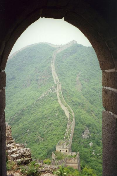 Picture of Huanghua Great Wall of China (China): Great Chinese Wall with defensive towers running over the hills