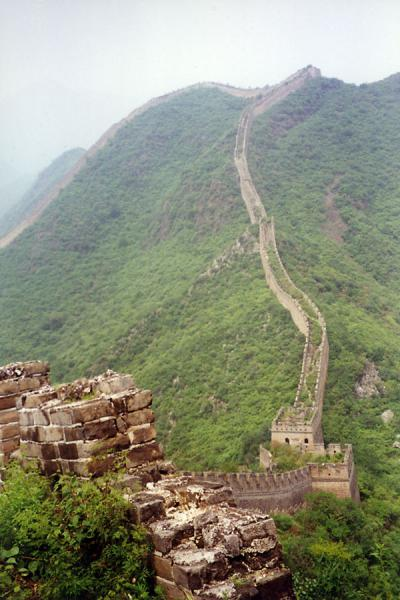 The Great Chinese Wall meandering through the green landscape | Huanghua Great Wall of China | China