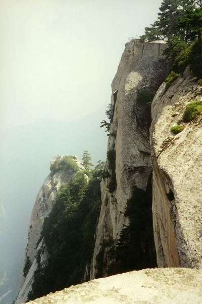 Looking down the narrow rocky Huashan Mountains | Huashan Mountain | China