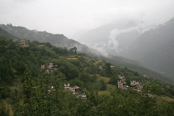 Picture of Jiaju Tibetan village (China): Tibetan village of Jiaju under a relentless rain