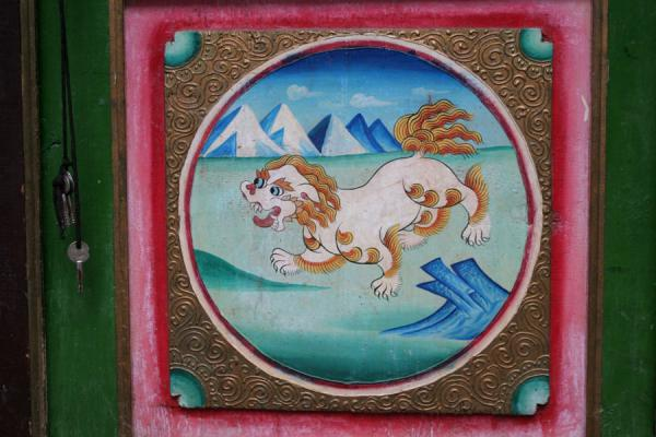 Picture of Jiaju Tibetan village (China): Detail of door in Tibetan village of Jiaju