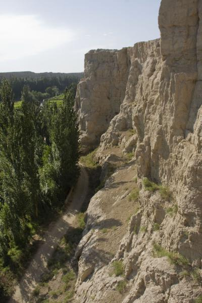 Cliffs of the Jiaohe plateau rising from the river | Jiaohe Ruins | China