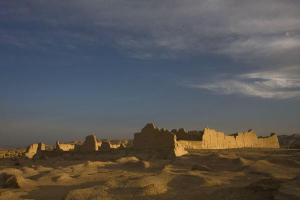 Picture of Sun setting over one of the temples at Jiaohe Ruins