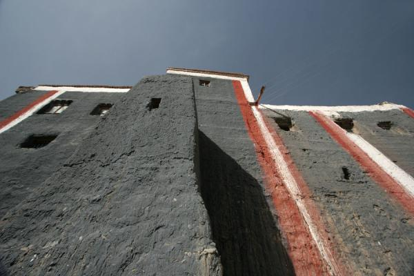 Picture of Buildings of Jyekundo Dondrubling are painted vertically