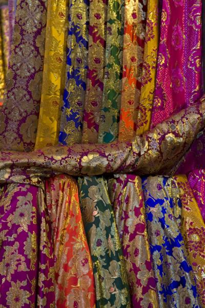 Close-up of fine silk for sale at Kashgar bazaar | Bazar de Kachgar | Chine