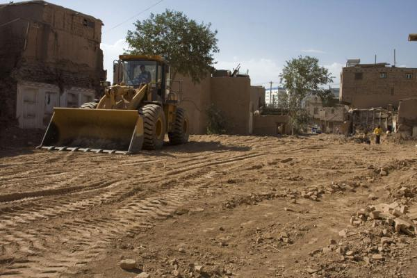 Bulldozer at work in the old town of Kashgar | Kashgar Old Town | China
