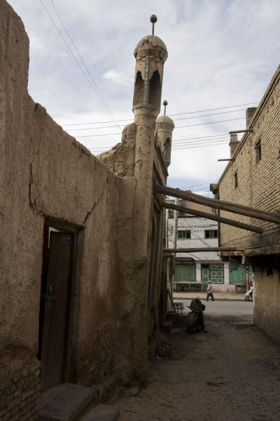 Old mosque being underpinned by wooden beams | Kashgar Old Town | China