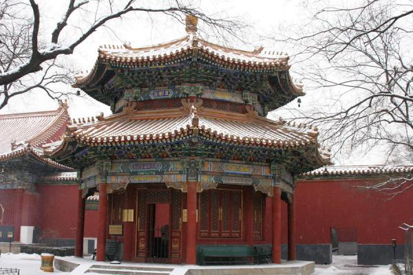 One of the towers near the main entrance of the temple | Lama Temple | China