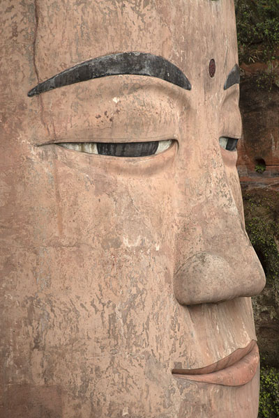Foto van Close-up of the face of the Giant BuddhaLeshan - China