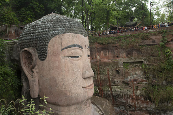 Foto van The head of the Giant Buddha seen from the staircaseLeshan - China