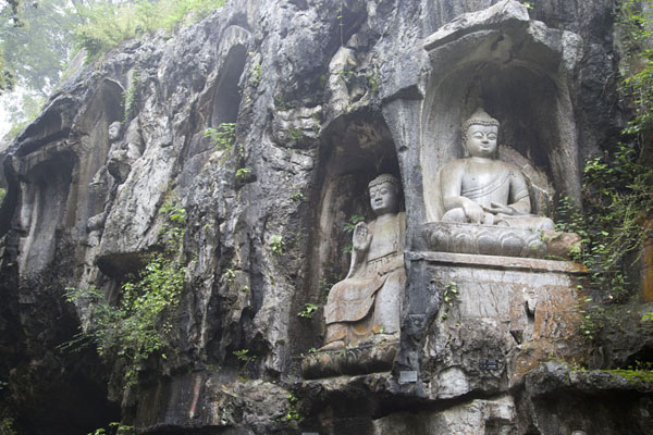 Picture of Lingyin temple complex (China): Buddhas sculpted out of the rock face at Lingyin