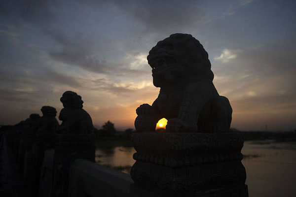 Foto van Sunset turns the lions into silhouettesWanping - China