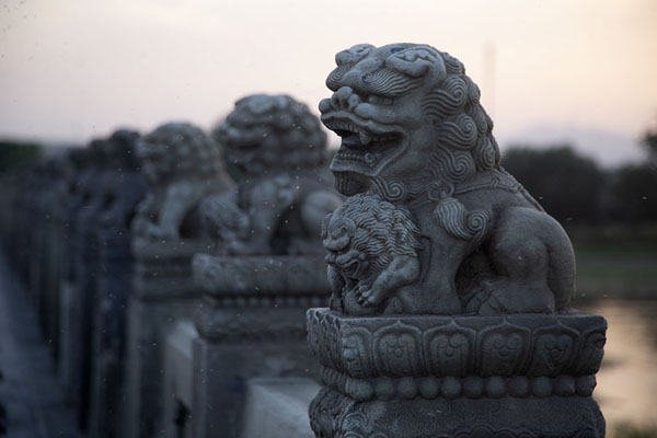 Foto van Stone lions adorning the north side of Marco Polo BridgeWanping - China