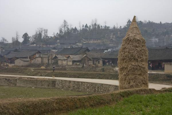 Picture of Matang Village (China): Overview of Matang with haystack in the foreground