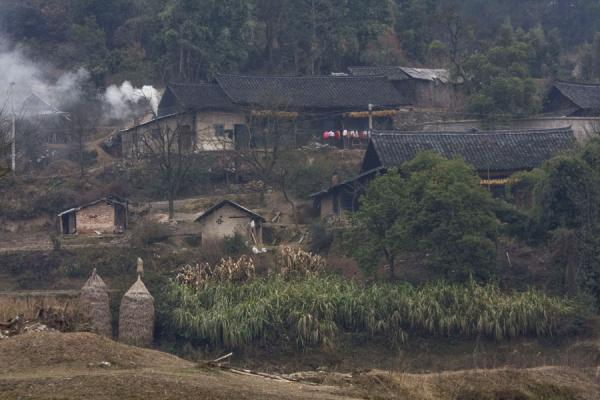 Picture of Matang Village (China): Scene near Matang: houses and haystacks