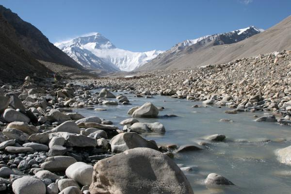Mount Everest with small river | Mount Everest North Face | China