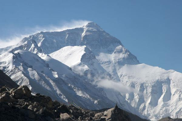 Mount Everest in the early morning: the famous plume of snow blowing off the summit | Mount Everest North Face | China