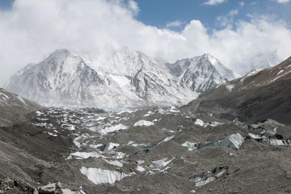Picture of Grey Rongphu Glacier running down the flanks of Mount Everest