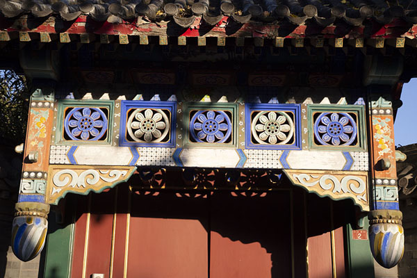 Foto van Detailed view of a decorated wooden panelBeijing - China