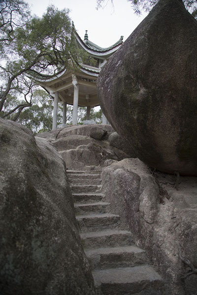 Stone stairs leading to a pavilion on the slopes of Wulaofeng mountains | Nanputuo temple | China