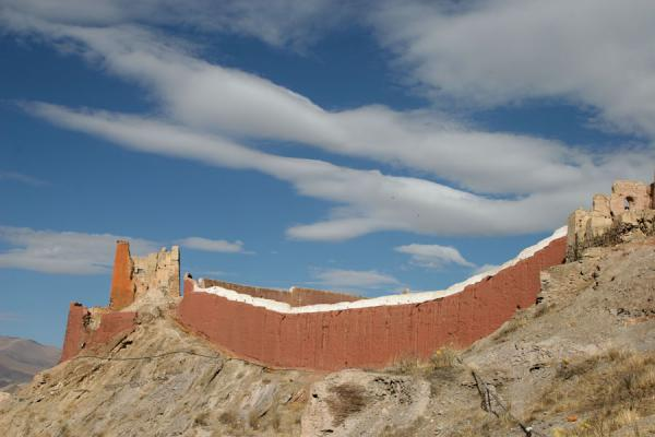 Picture of Pelkor Chöde monastery (China): Thangka wall of Pelkor Chöde monastery with clouds