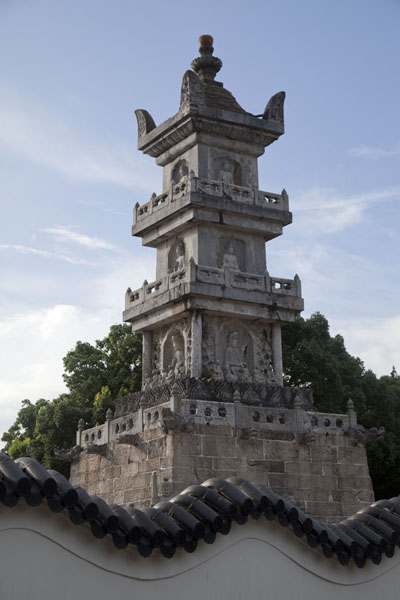 Picture of Duobao pagoda with Buddhist inscriptions on all sidesPutuoshan - China