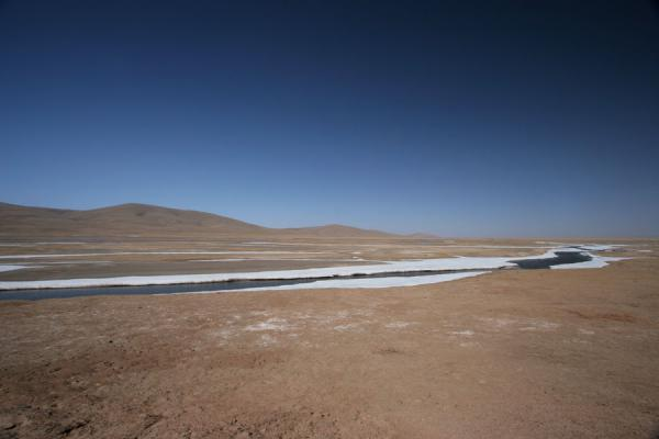Icy river in barren landscape near Maduo | Qinghai landscape | China