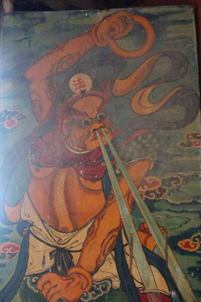 Painted religious figure on a door in a temple | Qionghai-Hu Lake | China