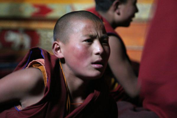 Foto de Very ambitious and very involved: young monk at debating session at Sakya monasterySakya - China