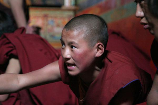 Determined monk participating the debate at Sakya monastery, fascinating for the visitor | Sakya monastery | China