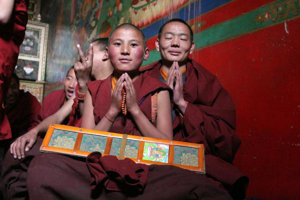Monks posing after the debating session is over, Sakya monastery | Sakya monastery | China