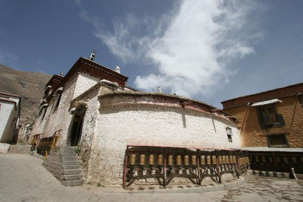 Prayer wheels waiting for pilgrims at Sera monastery | Sera monastery | China