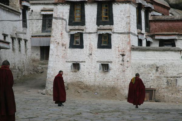 Monks walking on a square in Sera monastery | Sera monastery | China