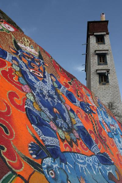 Picture of Sera monastery (China): Colourful rock paintings above Sera monastery