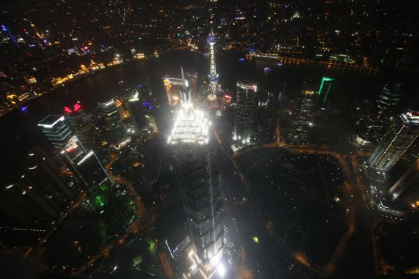 Shanghai by night as seen from the Sky Walk of the World Financial Center | Shanghai World Financial Center | China