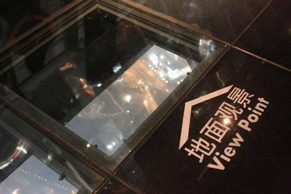 Picture of Looking down more than 400 metres through a view point in the Sky Walk