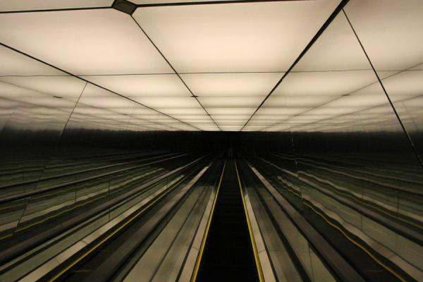 Picture of Escalator and lighted ceiling in the top of the building