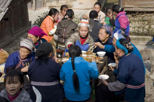 Miao people having lunch for wedding | Shi Long Zhai | China