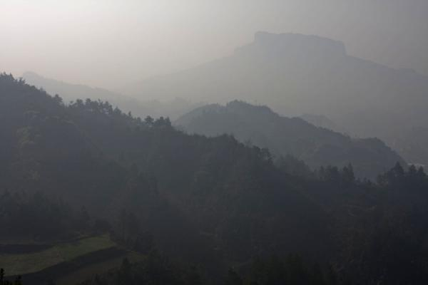 Picture of Panoramic view over Guizhou landscape around Shi Long Zhai