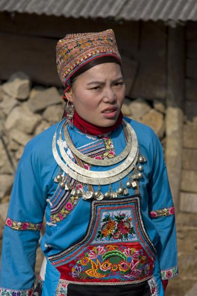Miao girl with traditional dress and jewelry | Shi Long Zhai | China