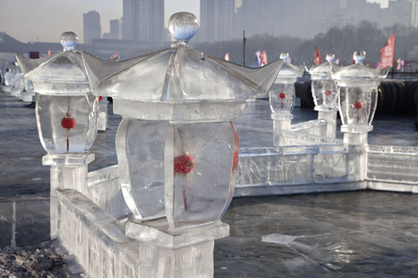 Ice lanterns on the frozen Songhua river | Songhua Winter Activities | China