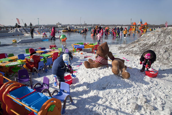 Kids playground on the Songhua river | Songhua Winter Activities | China