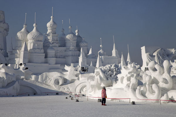 Orthodox church towers are the highest point of this enormous snow scene | Snow Sculpture Art Expo | China